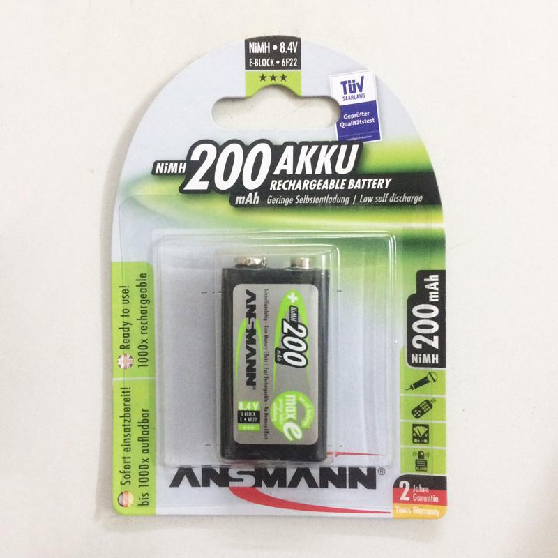 Pin sạc 9v Ansmann 200mah màu đen