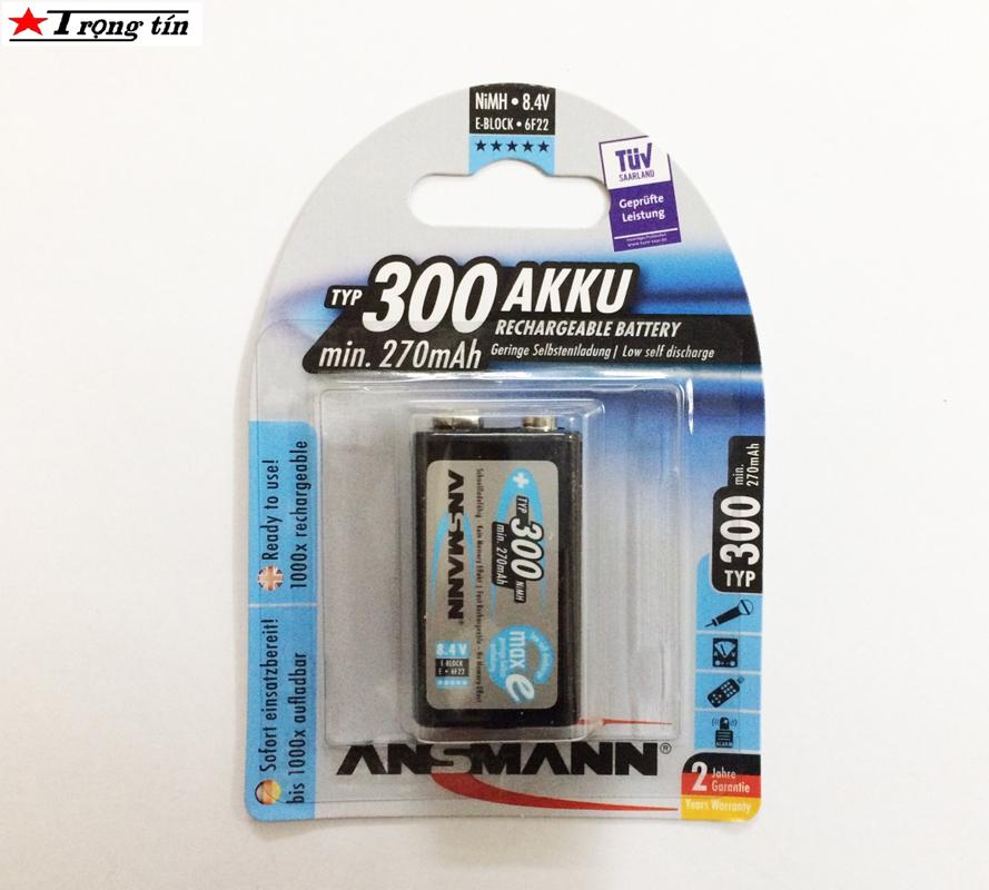 Pin sạc 9v Ansmann 300mah màu đen